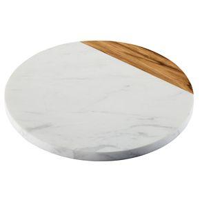 Anolon Pantryware White Marble & Teakwood Serving Board