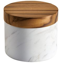 Anolon Pantryware White Marble Salt Cellar with Teakwood Lid