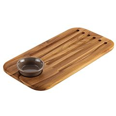 Anolon Pantryware Teakwood Bread Board & Stoneware Dipping Dish Set
