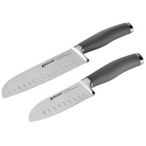 Anolon SureGrip Cutlery 2-Piece Japanese Stainless Steel Santoku Knife Set
