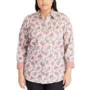 Plus Size Chaps No Iron Printed Sateen Shirt