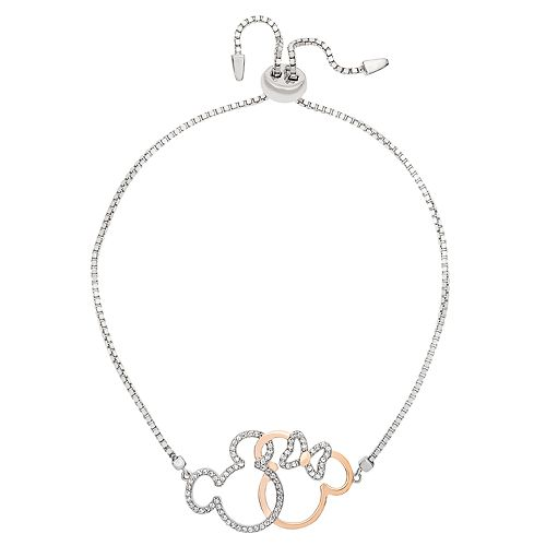 Disney's Mickey & Minnie Mouse Cubic Zirconia Interlocking Adjustable Bracelet