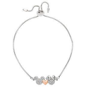 Disney's Mickey & Minnie Mouse Two Tone Cubic Zirconia Adjustable Bracelet