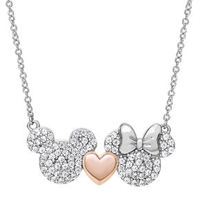 Disney's Mickey & Minnie Mouse Cubic Zirconia Necklace