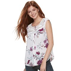Juniors' Candie's® Print Lace Inset Top