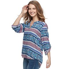 Juniors' Pink Republic Printed Popover Top