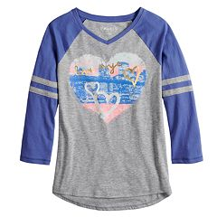 Girls 7-16 & Plus Size Mudd® 3/4-Sleeve Raglan Graphic Tee