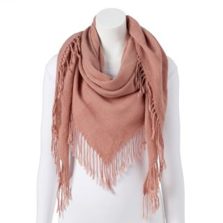 Women's Candie's® Solid Fringed Triangle Scarf