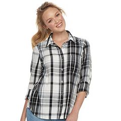 Juniors' SO® Plaid Button Down Shirt