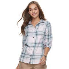 Womens Purple Plaid Shirts Blouses Tops Clothing Kohls