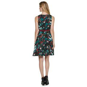 Women's ELLE? Print Pleated Fit & Flare Dress
