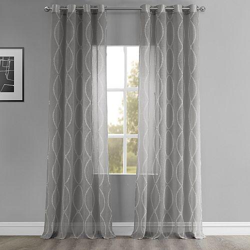 EFF Grecian Grommet Printed Sheer Window Curtain