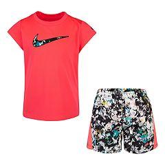 ca676da15571e6 Girls 4-6x Nike Dri-FIT Logo Graphic Tee & Splatter Shorts Set