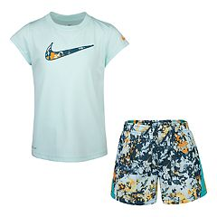Girls 4-6x Nike Dri-FIT Logo Graphic Tee & Splatter Shorts Set