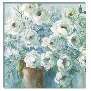 New View Gifts Collective Blue Floral Canvas Wall Art