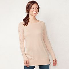 Women's LC Lauren Conrad Lace-Up Sleeve Tunic Sweater