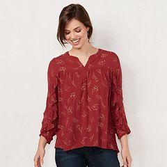 Women's LC Lauren Conrad Printed Ruffle Sleeve Blouse