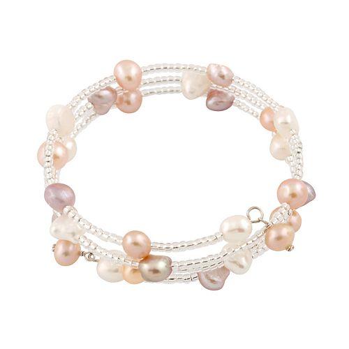 Triple Row Dyed Freshwater Cultured Pearl Adjustable Bangle Bracelet