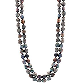 Dyed Freshwater Cultured Pearl Long Double Strand Necklace