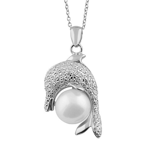 Sterling Silver Freshwater Cultured Pearl & Cubic Zirconia Dolphin Pendant