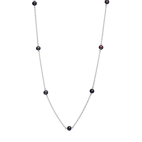 14k White Gold Freshwater Cultured Pearl Station Necklace