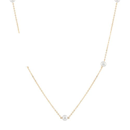 14k Gold Freshwater Cultured Pearl Station Necklace