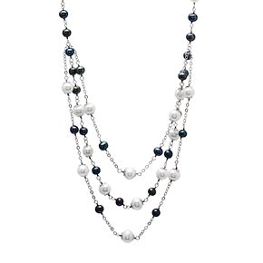 Sterling Silver Cultured Freshwater Pearl Multi Strand Station Necklace