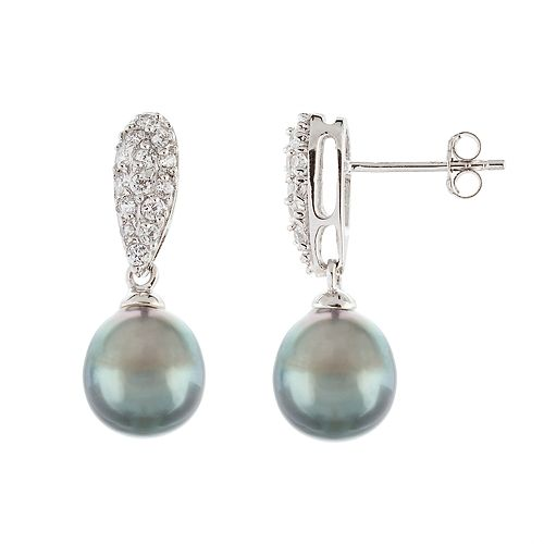 Sterling Silver Tahitian Cultured Pearl Drop Earrings