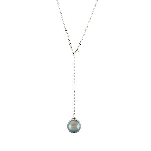 Sterling Silver Tahitian Cultured Pearl Adjustable Pearl Necklace