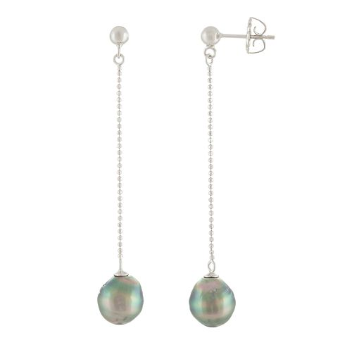 Sterling Silver Tahitian Cultured Pearl Dangle Earrings