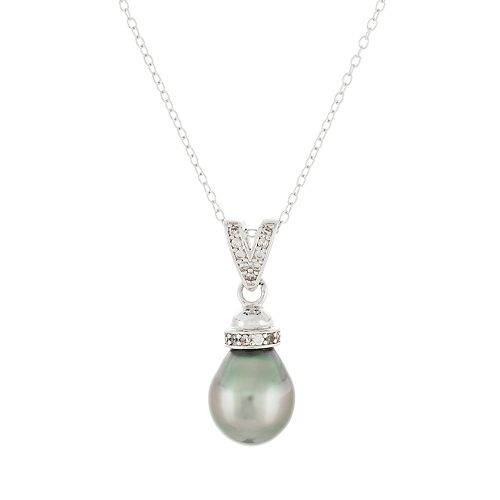 Sterling Silver Tahitian Cultured Pearl & Cubic Zirconia Pendant Necklace