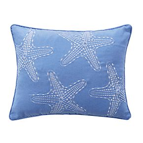 Embroidered Starfish Throw Pillow
