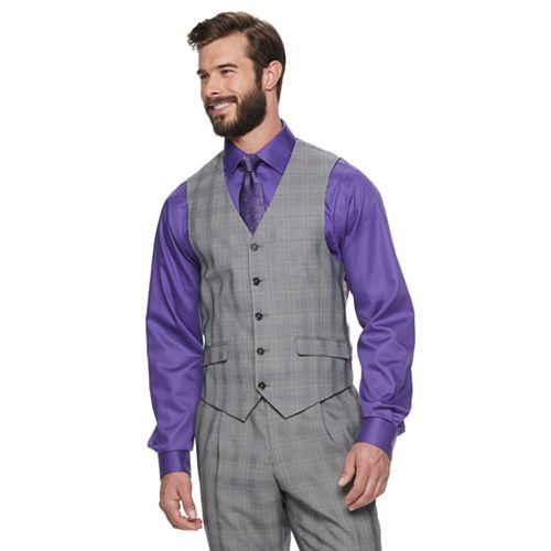 Men's Steve Harvey Fitted Plaid Suit Vest