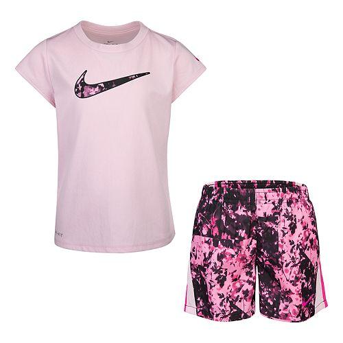 Girls 4-6x Nike Dri-FIT Logo Graphic Tee & Splatter Shorts Set