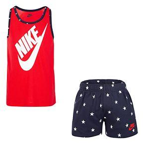 Girls 4-6x Nike Logo Graphic Tank Top & Star Shorts Set
