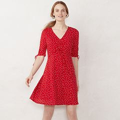 Petites LC Lauren Conrad Print Ruched Fit & Flare Dress