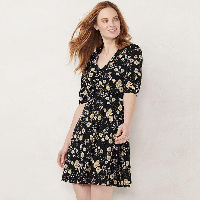 b6c4a56083e58 Petites LC Lauren Conrad Print Ruched Fit   Flare Dress