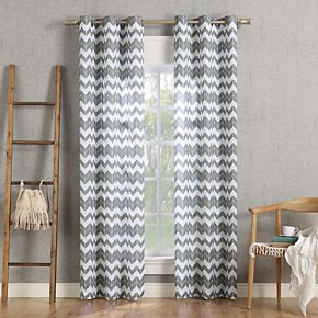 No. 918 Kai Chevron Semi-Sheer Grommet Curtain Panel