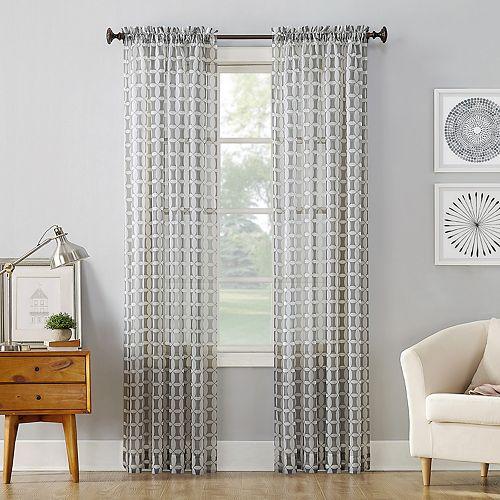 No. 918 Miller Geometric Sheer Rod Pocket Curtain Panel