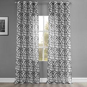 EFF Matrix Grommet Printed Sheer Window Curtain