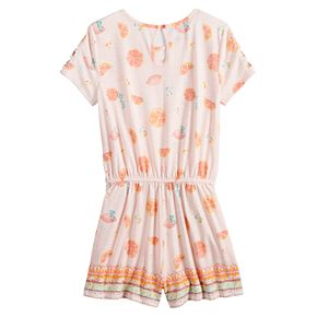 Girls 7-16 & Plus Size Mudd® Print Lattice-Sleeve Romper