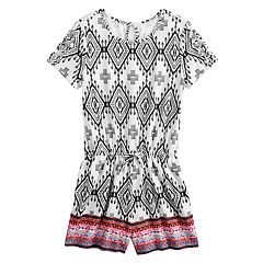 Girls 7-16 & Plus Size Mudd® Print Lattice-Sleeve Romper