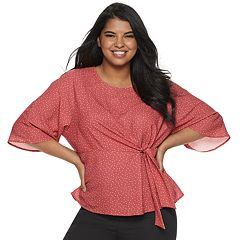 Juniors' Plus Size Grayson Threads Wrap Front Top