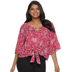Juniors' Plus Size Grayson Threads Keyhole Tie Front Top