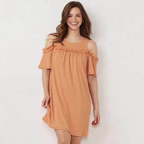 Petite LC Lauren Conrad Ruffle Cold-Shoulder Dress