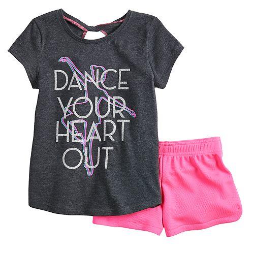Toddler Girl Jumping Beans® Ballerina Tee & Mesh Shorts Set