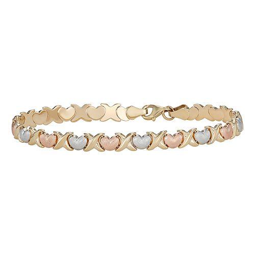 10K Gold Tri-Tone Heart Bracelet