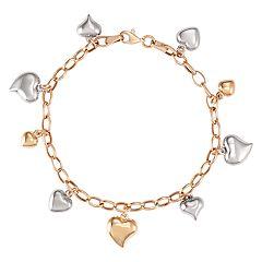 10K Gold 8.25' Tri-Tone Multi-Heart Bracelet