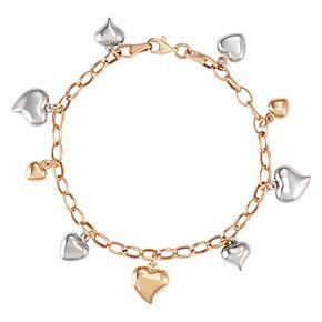 "10K Gold 8.25"" Tri-Tone Multi-Heart Bracelet"