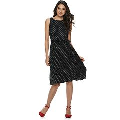 19301b47f97 Women s ELLE™ Boatneck Fit   Flare Midi Dress. Navy Escape Blue Floral  Print Black Dot